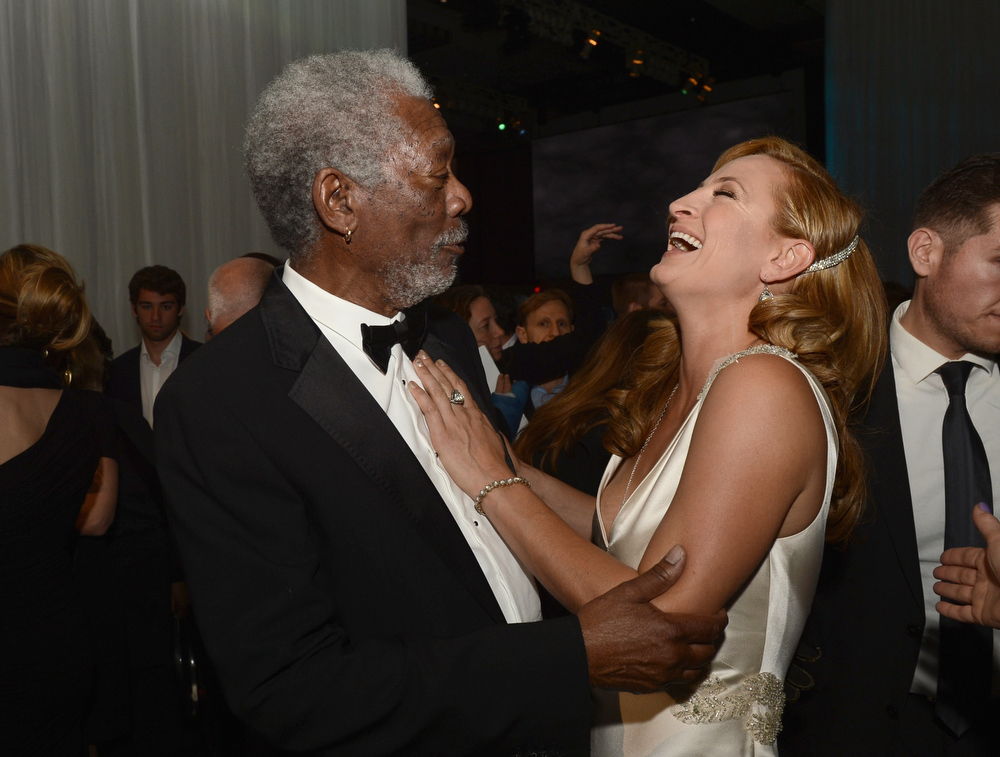 """. Actors Morgan Freeman and Zoe Bell attend the after party for the premiere of Universal Pictures\' \""""Oblivion\"""" at Dolby Theatre on April 10, 2013 in Hollywood, California.  (Photo by Kevin Winter/Getty Images)"""