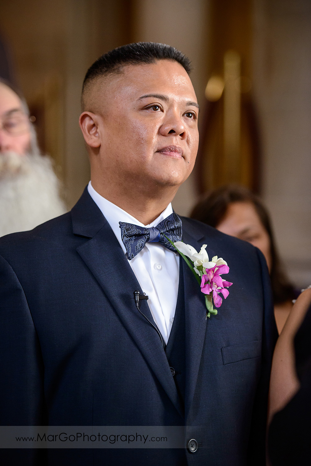 portrait of the groom during wedding ceremony at San Francisco City Hall