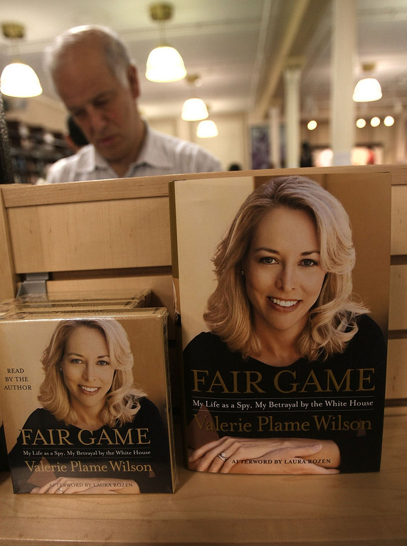 """. NEW YORK - OCTOBER 23:  Copies of former United States C.I.A. officer Valerie Plame Wilson book is on display at a book signing event for her autobiography \""""Fair Game\"""" at the Union Square Barnes andC Noble October 23, 2007 in New York City. Wilson, the wife of former Ambassador Joseph C. Wilson, IV, discussed her role in the scandal over Republican lawmakers and journalists who leaked her identity.  (Photo by Mario Tama/Getty Images)"""