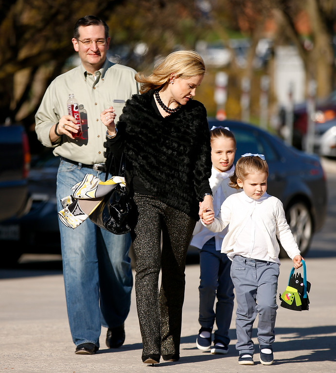 . Sen. Ted Cruz, R-Texas, his wife Heidi, and their two daughters Catherine, 4, right, and Caroline, 6, second from right, arrive for a walk-through for Cruz\'s Monday morning speech where he will launch his campaign for president of the United States at Liberty University on Sunday, March 22, 2015 in Lynchburg, Va. Cruz will be the first major candidate in the 2016 race for president. (AP Photo/Andrew Harnik)