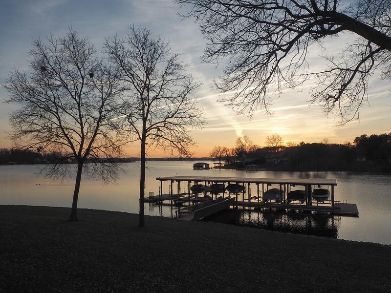 Winter sunset from deck