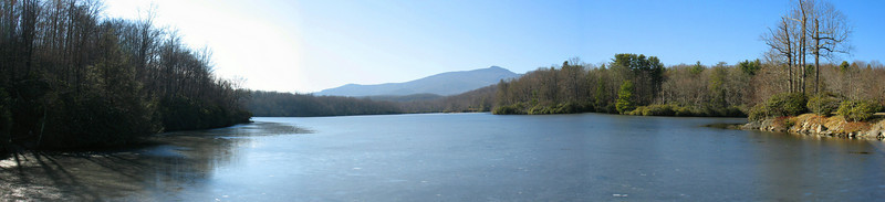 Starting from where the Blue Ridge Parkway crosses Price Lake Dam I was treated to this view across Price Lake. The peak in the distance is Grandfather Mountain.