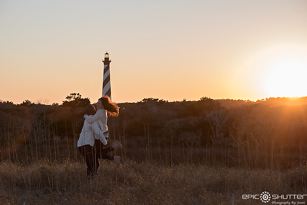 Dana and Craig, Surprise Sunset Proposal, Cape Hatteras Lighthouse