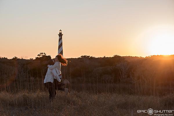 Dana and Craig, Surprise Sunset Proposal, Cape Hatteras Lighthouse