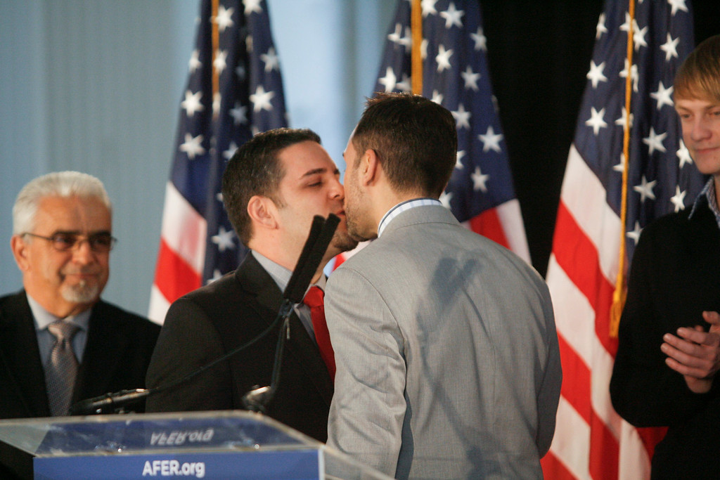 . Plaintiffs Paul Katami, right, and Jeff Zarrillo,  both of Burbank, CA kiss at a press conference after the appeals court ruling that Prop 8 is unconstitutional at a press conference in Los Angeles Tuesday Morning.   Photo by David Crane/Los Angeles Daily News.