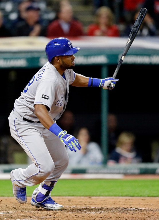 . Kansas City Royals\' Jorge Bonifacio watches his two-run double off Cleveland Indians relief pitcher Andrew Miller in the eighth inning of a baseball game, Friday, May 26, 2017, in Cleveland. Eric Hosmer and Lorenzo Cain scored on the play. (AP Photo/Tony Dejak)