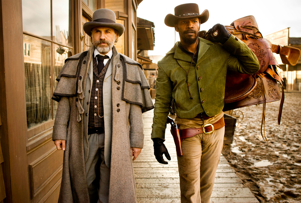Description of . This undated publicity image released by The Weinstein Company shows, from left, Christoph Waltz as Schultz and Jamie Foxx as Django in the film