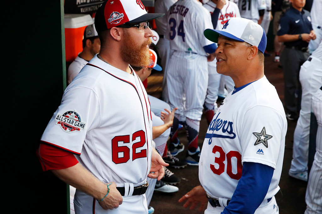 . Washington Nationals pitcher Sean Doolittle, left, speaks with National League Manager with the Los Angeles Dodgers Dave Roberts before the Major League Baseball All-star Game, Tuesday, July 17, 2018 in Washington. (AP Photo/Alex Brandon)