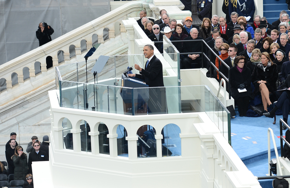 Description of . US President Barack Obama gives his inauguration speech at the US Capitol on January 21, 2013 in Washington, DC.  EMMANUEL DUNAND/AFP/Getty Images
