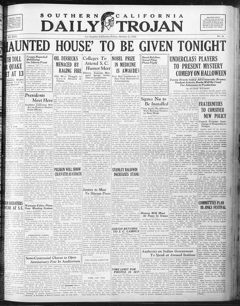 Daily Trojan, Vol. 22, No. 36, October 31, 1930