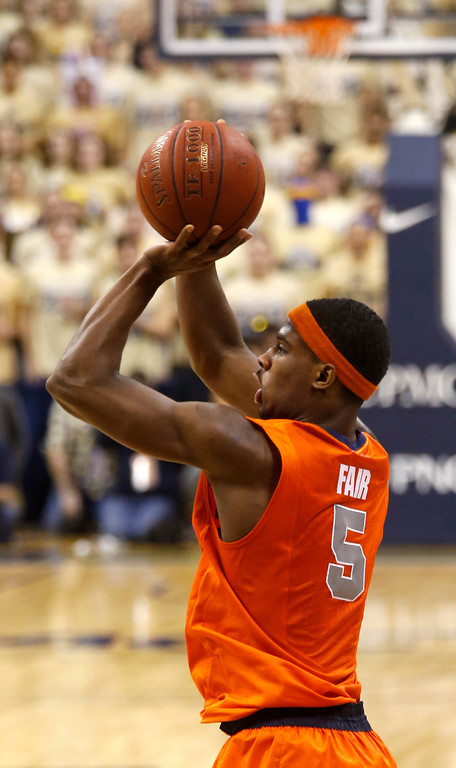 . Syracuse\'s C.J. Fair (5) shoots during the second half of an NCAA college basketball game against Pittsburghon Wednesday, Feb. 12, 2014, in Pittsburgh. Syracuse won 58-56 on a three point shot with less than a second left in the game. (AP Photo/Keith Srakocic)
