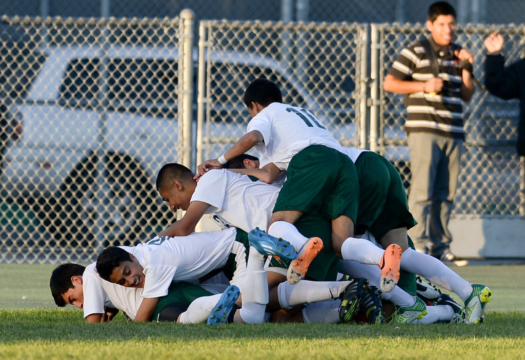 . Narbonne dog-piles after scoring their second goal on San Pedro in a Marine League boys soccer game Wednesday, February 12, 2014, Harbor City, CA.  Narbonne won 2-0 and seals the league title. Photo by Steve McCrank/Daily Breeze