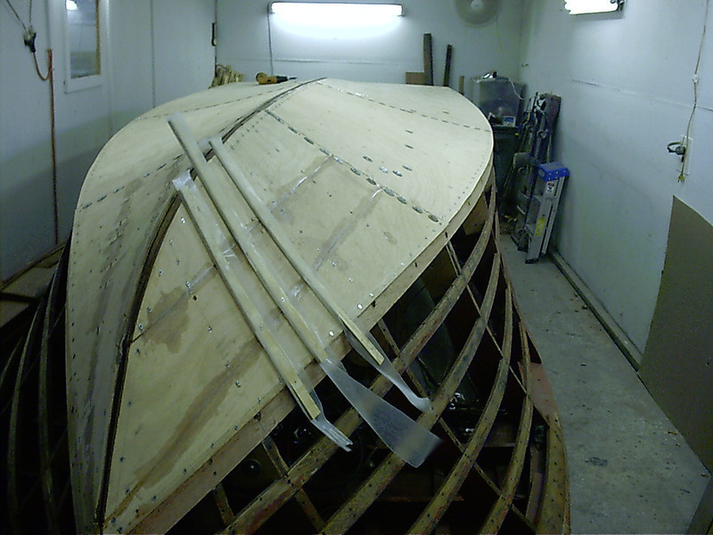 First layer of plywood on the starboard side installed.