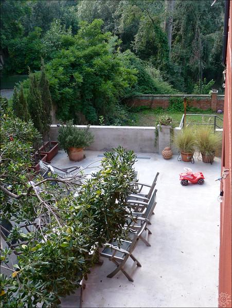 Vue depuis le niveau de l'entrée, avec le jardin plus bas et la forêt derrière