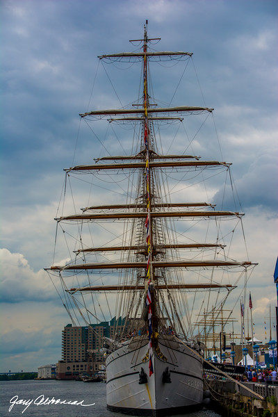 Friday - Tall Ships in Philadelphia berthed and sailing on the  Delaware River.