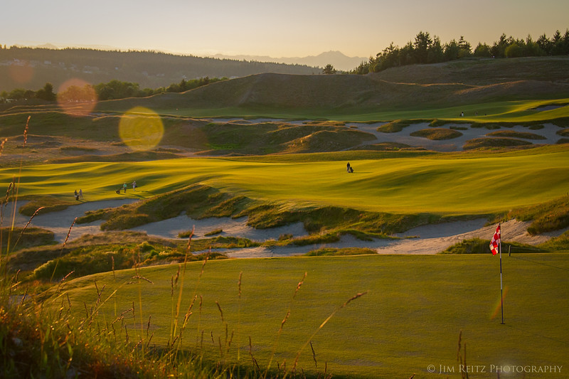 View from Chambers Bay 4th green, looking back to the fairway.