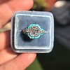 2.23ct Art Deco Emerald Cut and Turquoise Halo Ring 5