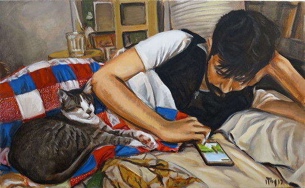 Texting Man with Cat; oil on canvas, 28 x 46 in, 2017
