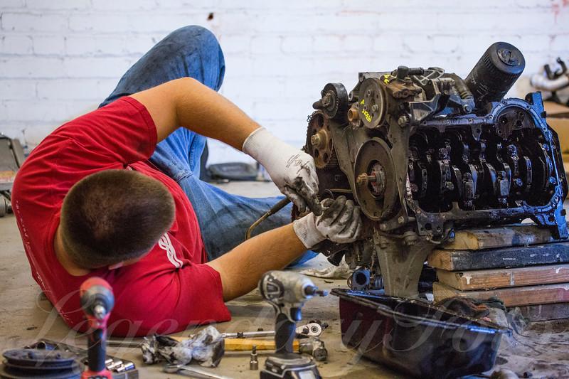 David Inspecting TDI Engine