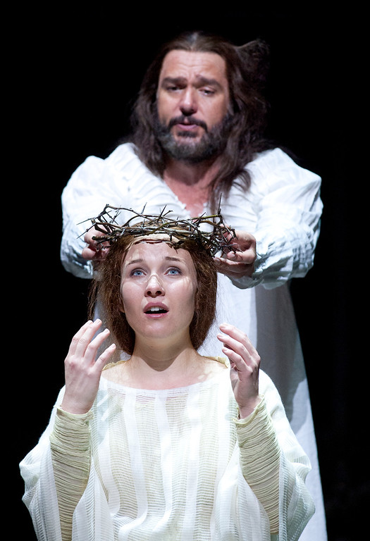 ". Yeshua (Nathan Gunn), top, places his crown of thorns on the head of Mary Magdalene (Sasha Cooke), in a scene from San Francisco Opera\'s world premiere of Mark Adamo\'s ""The Gospel of Mary Magdalene,\"" Sunday, June 16, 2013 at the War Memorial Opera House in San Francisco. (D. Ross Cameron/Bay Area News Group)"