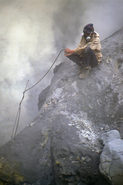 Vulcanologist at work in the Mutnovsky Volcano - Kamčatka, Russian Federation - Summer 1993