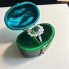 4.38ctw Art Deco Russian Demantoid & Diamond Cluster Ring 22
