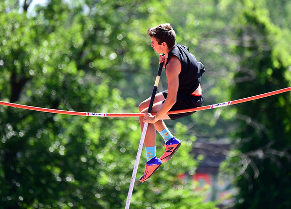 7/13/2019 Mike Orazzi | Staff Sam Wolf competes in the pole vault during the Nutmeg State Games in Willow Brook Park in New Britain on Saturday.