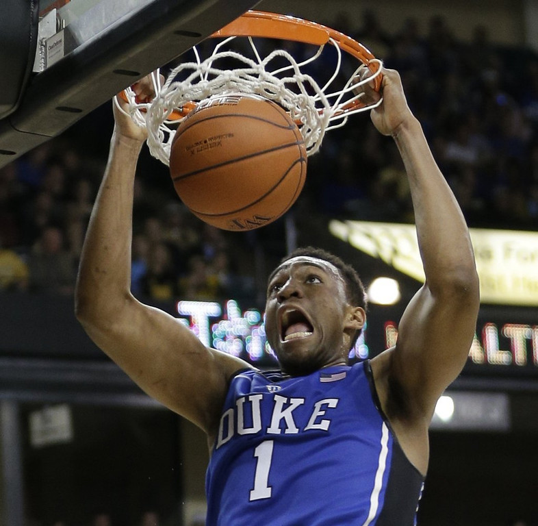 ". <p>10. (tie) JABARI PARKER <p>Decided to leave for NBA after one year BEFORE he even got to Duke. (unranked) <p><b><a href=\'http://www.twincities.com/sports/ci_25586040/jabari-parker-duke-freshman-declares-nba-draft\' target=""_blank\""> HUH?</a></b> <p>    (AP Photo/Chuck Burton)"