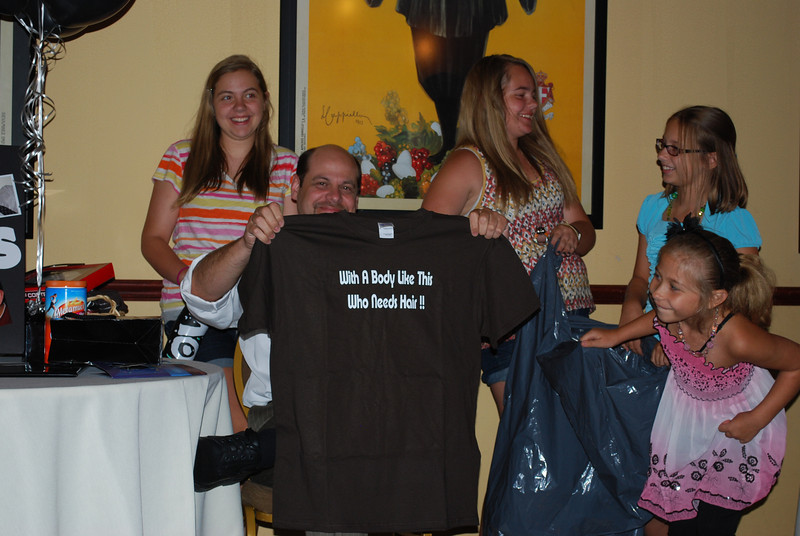 "T-shirt from Dan and Tracy that states:""With a Body like this, who Needs Hair!"""