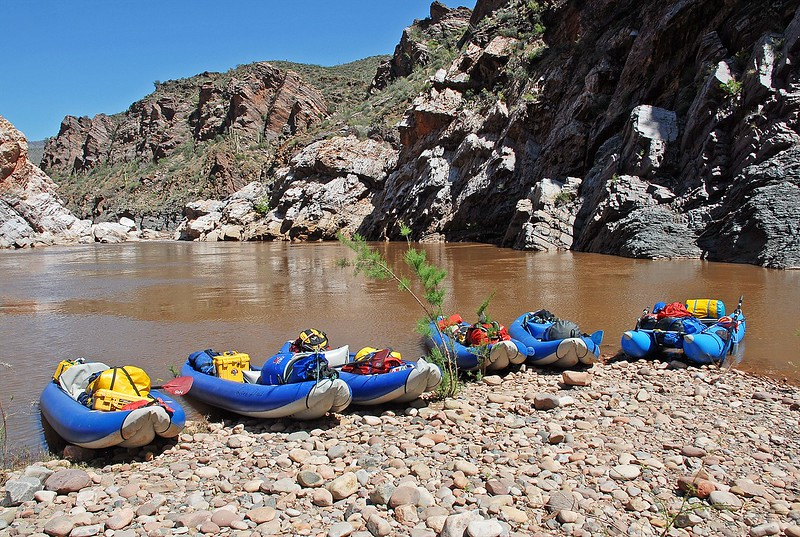 Boats beached above Corkscrew Rapid