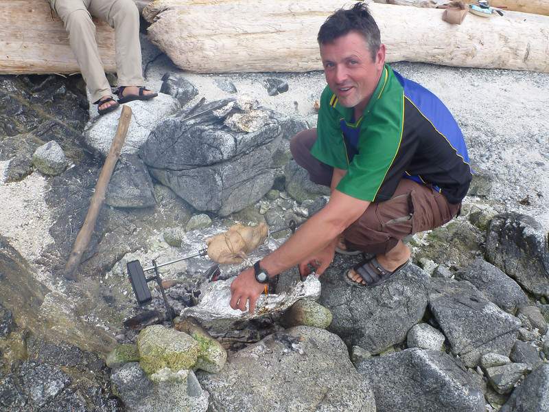 Duncan prepares the roast duck.