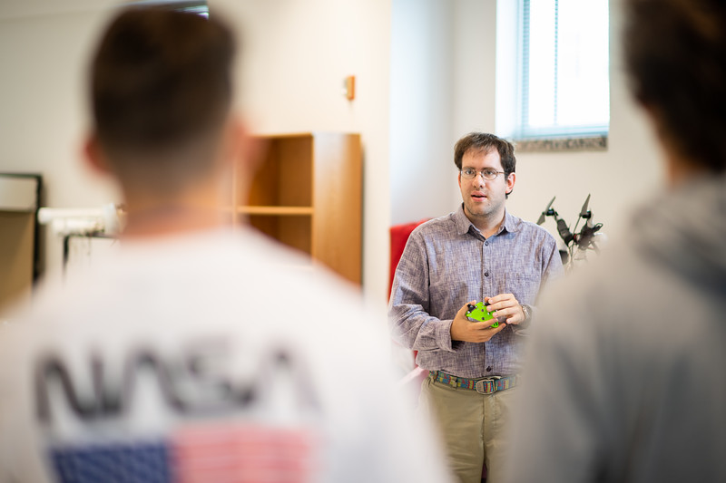 Dr. Evan Krell addresses UAS camp student about his current works in the TAMU-CC drone lab