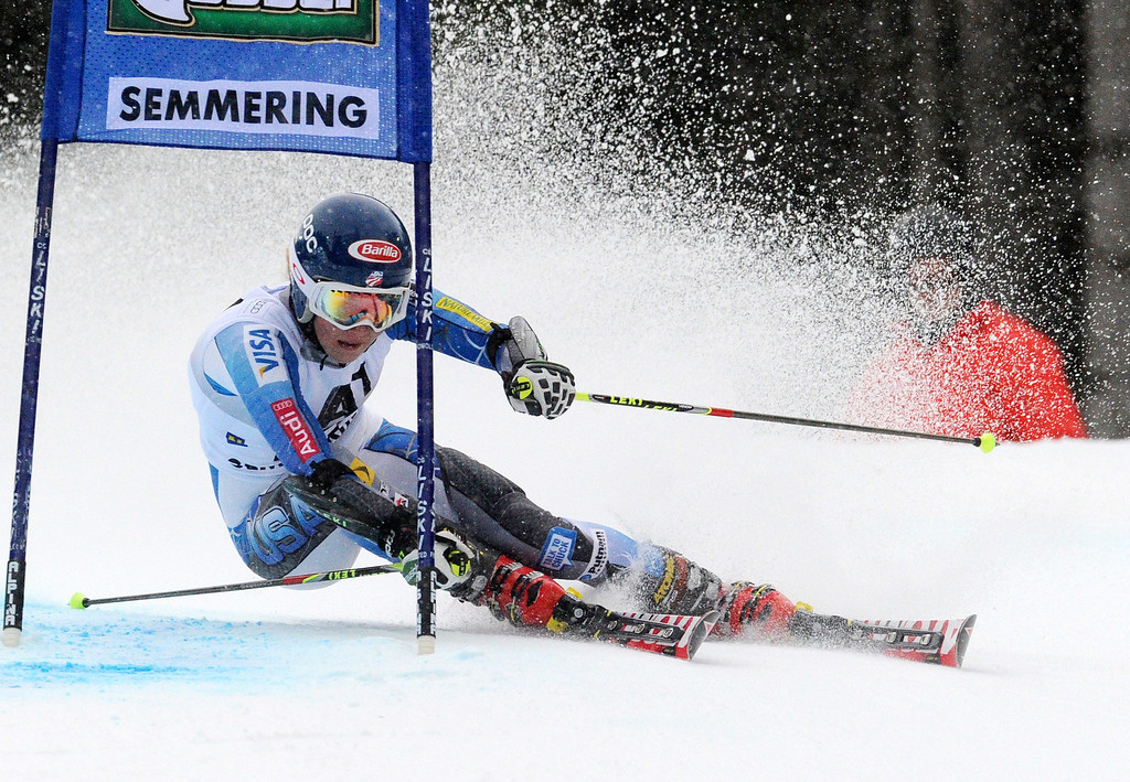 . Eighth placed Mikaela Shiffrin, of the U.S., competes during an alpine ski, women\'s World Cup giant slalom in Semmering, Austria, Friday, Dec. 28, 2012. (AP Photo/Pier Marco Tacca)