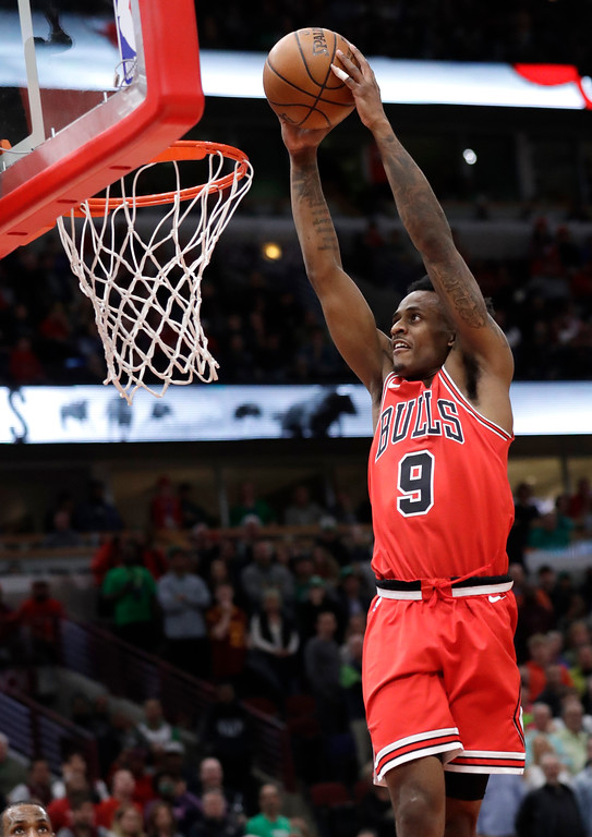 . Chicago Bulls guard Antonio Blakeney goes up for a dunk against the Cleveland Cavaliers during the second half of an NBA basketball game Saturday, March 17, 2018, in Chicago. The Cavaliers won114-109. (AP Photo/Nam Y. Huh)