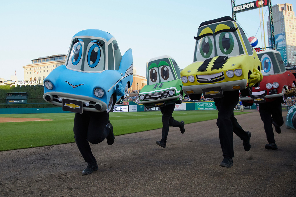 . Motor City Wheels Mascot Race takes place during the fourth inning in the second baseball game of a doubleheader between the Detroit Tigers and the Cleveland Indians in Detroit, Saturday, July 1, 2017. (AP Photo/Rick Osentoski)