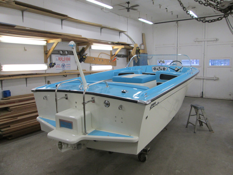 Rear starboard view of completed project. We are now having a new top and cover made for the boat. 11/6/2013.
