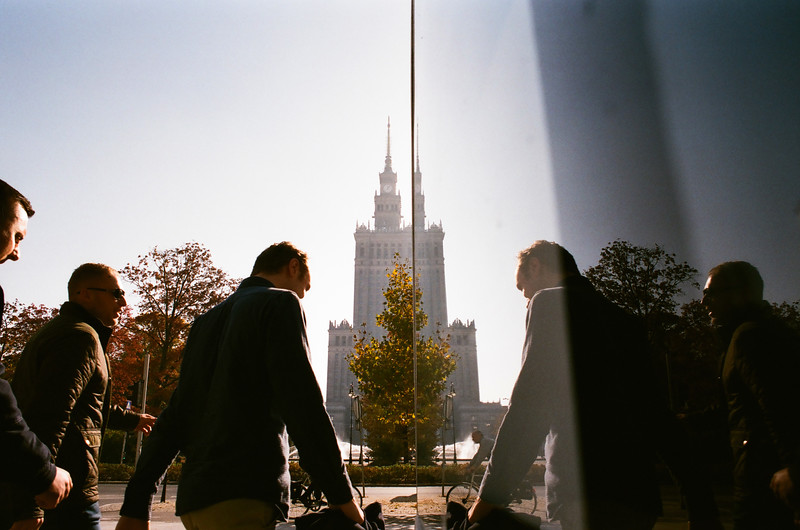 men reflecting palace of culture autumn nikon analog fujifilm.jpg