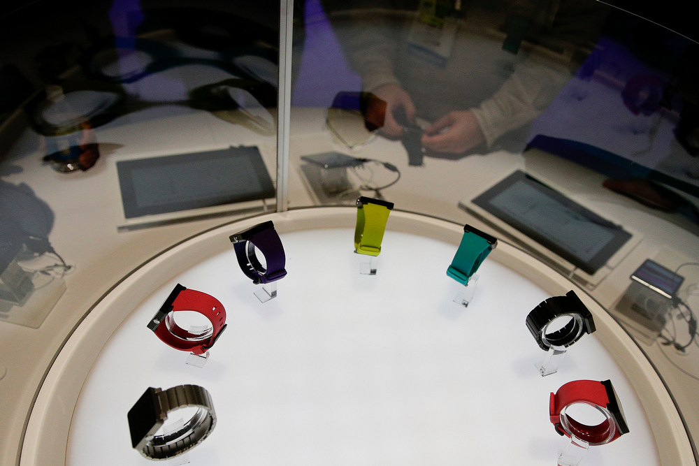 . Sony\'s smartwatches are displayed at the International Consumer Electronics Show on Thursday, Jan. 9, 2014, in Las Vegas. (AP Photo/Jae C. Hong)