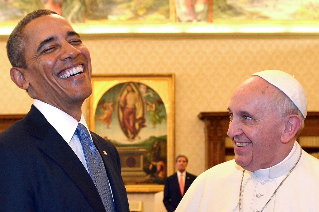 ". FILE - In this Thursday, March 27, 2014 file photo, Pope Francis and President Barack Obama smile as they meet at the Vatican. When Pope Francis meets with President Donald Trump at the Vatican May 24, the world will be watching how the Argentine ""slum pope\"" interacts with the brash, New York billionaire-turned-president. (AP Photo/Gabriel Bouys, Pool)"