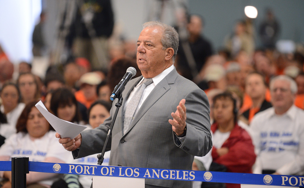 . Long Beach Mayor Bob Foster makes an empassioned plea for the Harbor Commission to reject the EIR and SCIG project. LA Harbor Commission meeting to determine the fate of the SCIG rail terminal, or Southern California International Gateway.    Photo by Brad Graverson 3-7-13