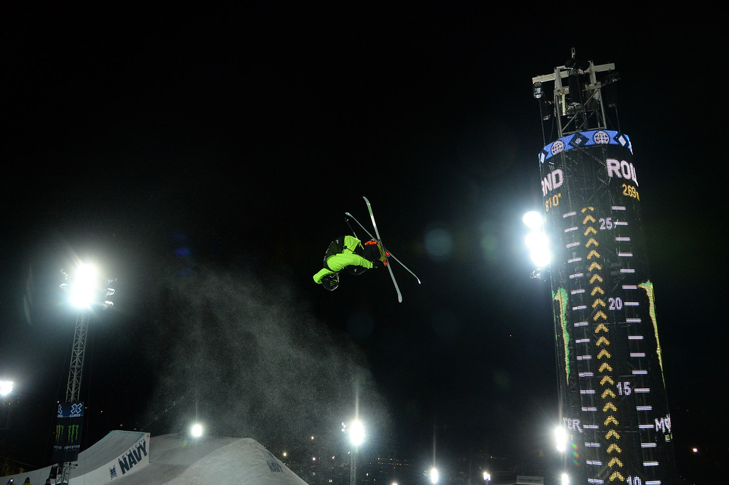 . Kevin Rolland soars above the pipe at the men\'s ski superpipe final in Aspen at Winter X Games in Aspen, January 24, 2014. Rolland went on to win the silver medal in the event. (Photo By Mahala Gaylord/The Denver Post)