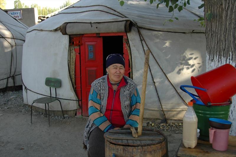Vendor of Kymys (Fermented Mare's Milk) - Kochkor, Kyrgyzstan