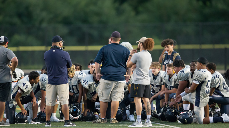 August 29, 2019 - Coaches use the scrimmage-ending fight between Magruder and Giathersburg players as a teachable-moment. Photo by Mike Clark/The Montgomery Sentinel