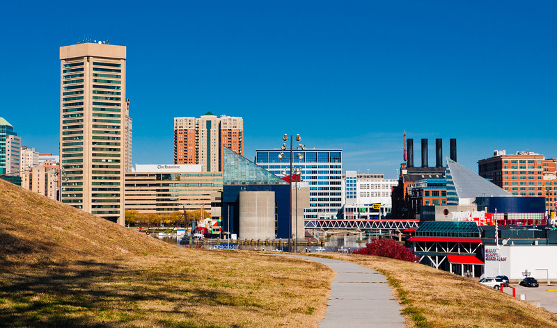 Footpath and view of the Baltimore Skyline from Federal Hill Park.