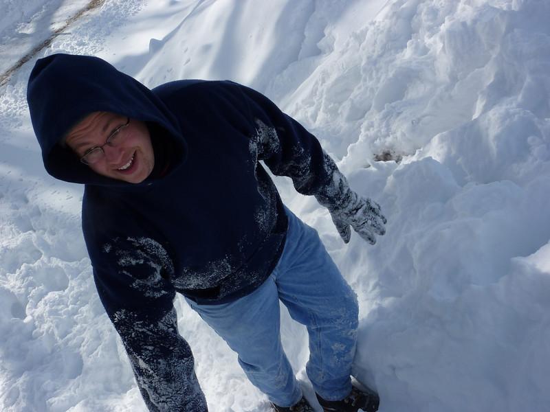 Steve summits a snow drift