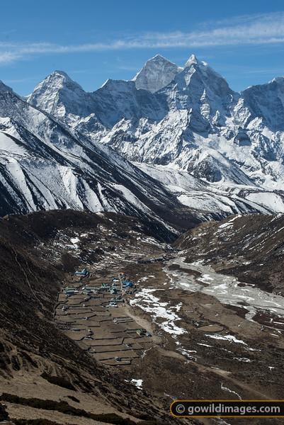 Pheriche village and Kangtega peak