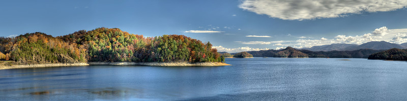 A few fall colors stand out against the bold evergreens around South Holston Lake near Bristol, TN on Saturday, November 2, 2013. Copyright 2013 Jason Barnette