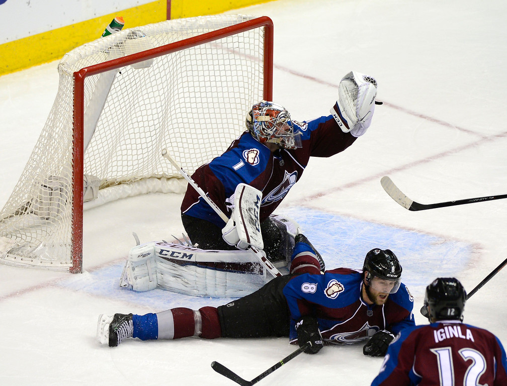. DENVER, CO - February 5: Colorado Avalanche goalie Semyon Varlamov (1) defends a shot during the second period Thursday, February 5, 2015 at the Pepsi Center in Denver, Colorado. (Photo By Brent Lewis/The Denver Post)