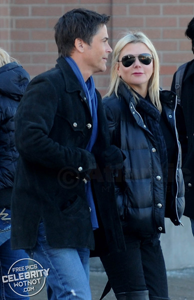 Robe Lowe and Wife, Sheryl Berkoff, Winter Stroll in Park City, Utah