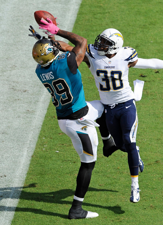 . San Diego Chargers strong safety Marcus Gilchrist (38) breaks up a pass intended for Jacksonville Jaguars tight end Marcedes Lewis (89) during the second half of an NFL football game in Jacksonville, Fla., Sunday, Oct. 20, 2013.(AP Photo/Stephen Morton)